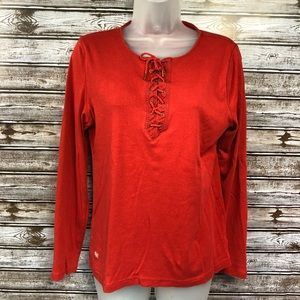 Lauren Jeans Co. Long Sleeve Red Lace Up Blouse